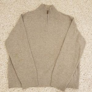 J.Crew Men's Sz L 100% Lambs Wool 1/4 Zip Sweater